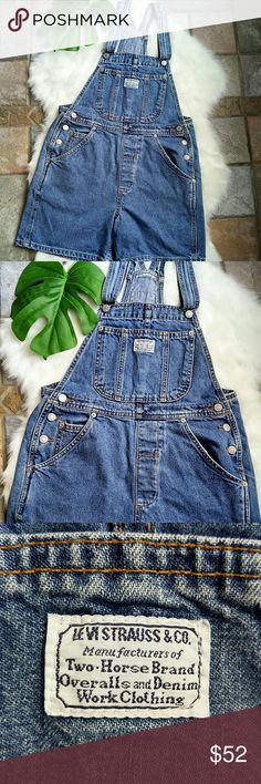 "Vintage Levi's denim overalls shorts Size Small. Waist 32"" length adjustable. Vintage Levi's denim overalls in excellent condition. No stains no holes!!!! Levi's Jeans Overalls"