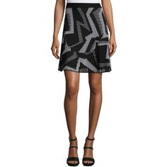 M Missoni Ribbed Geometric-Patterned Fit-&-Flare Skirt (1,820 AED) ❤ liked on Polyvore featuring skirts, black, ribbed skirt, skater skirt, geometric skirt, circle skirt and m missoni