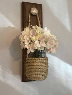 Rustic home decor set of 2 mason jar sconces hanging mason jar sconce mason jar decor wall sconce wall decor mason jar sconce with flowers Mason Jar Sconce, Mason Jars, Mason Jar Crafts, Bottle Crafts, Home Crafts, Diy And Crafts, Hanging Vases, Ceiling Hanging, Decorated Jars