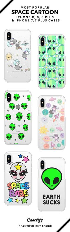 Most Popular Space Cartoon iPhone X, iPhone 8, iPhone 8 Plus, iPhone 7 and iPhone 7 Plus case. - Shop them here ☝️☝️☝️ BEAUTIFUL BUT TOUGH ✨ - space, et, astronaut, rocket, unicorn, earth
