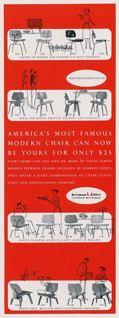 Eames Studio: Adverts for Molded Plywood Campaign, 1952 (Courtesy and ©2012 Eames Office)