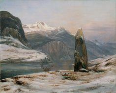 Johan Christian Dahl's Menhir in Sognefjord in Winter (1827)
