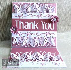 "Die'sire Fancy Edge'ables: Butterfly Dreams. Easel Card - front view. Centura Pearl Card. Pink Card. Classique Contemporary 1"" upper & lower case alphabet. Itsy Bitsy Bloom Quilling Die. Stamen Quilling Die. Gems. #crafterscompanion"