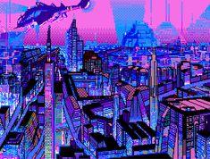 Vaporwave City by Pixel Art Gif, City Grid, Cyberpunk City, Cyberpunk Aesthetic, Futuristic City, 8 Bit Art, Space City, Vaporwave Art, Neon Aesthetic