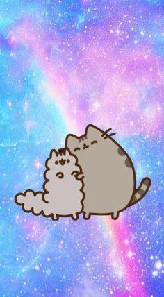 Pusheen and Stormy Kawaii Wallpaper, Cat Wallpaper, Wallpaper Iphone Cute, Cute Kawaii Drawings, Kawaii Art, Pusheen Stormy, Pusheen Love, Iphone Hintegründe, Nyan Cat