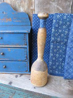 Antique Wood Masher Original Surface Calico Sleeve | eBay