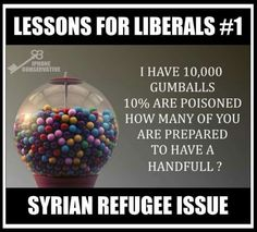 """Here you go Liberals, ... have at it ! The FBI, Homeland Security and Joint Chiefs of Staff-Pentagon all say that of the """"Syrian"""" refugees  allowed into our country, that ISIS WILL-BE-IN-THAT-POPULATION of refugees, estimated at 10% of that population ... it's not worth the risk !!!"""