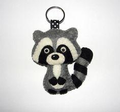 Wool Felt Raccoon Keychain Raccoon Keychain Keyring Key