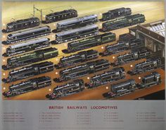 This poster, originally published in London, shows 21 different British Railways locomotives. Illustrated by A. Railway Posters, Travel Posters, Hobby Shops Near Me, Hobby Trains, Train Service, British Rail, Model Train Layouts, Steam Locomotive, Model Trains