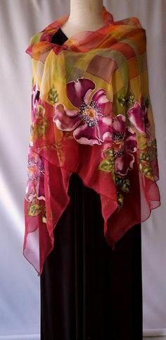 Shawl.Natural silk shawl floral yellow green orange