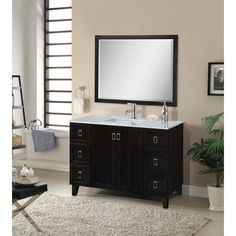 $1478 Abel 48 inch Classic Single Sink Bathroom Vanity Dark Brown Finish