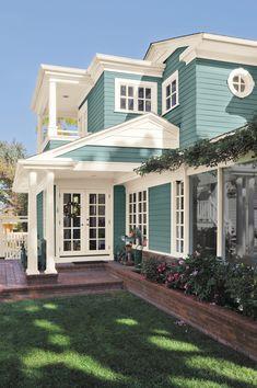 Exterior Paint Colors For House, Paint Colors For Home, Exterior Colors, Blue Green Paints, Green Paint Colors, Behr Colors, Pintura Exterior, House Painting, Curb Appeal