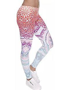 079b966346 Digital Printed Women's Full-Length Yoga Workout Leggings Thin Capris Pants  L1