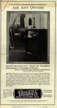 Standard Radio Manufacturing Corporation, Limited's Rogers-Batteryless Radio – To Get the Facts on Rogers-Batteryless Performance-Ask Any Owner (1927)