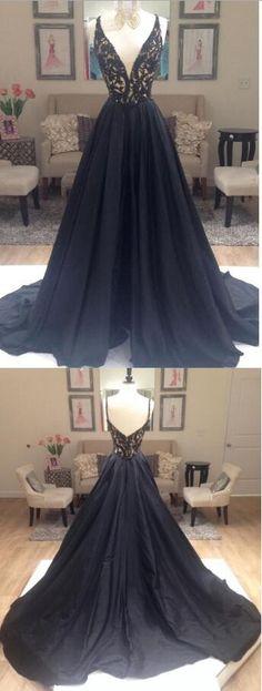 black prom dress,elegant prom dress, A-line prom dress, v-neck prom dress gown, party dress on Storenvy
