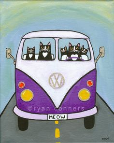 Aren't cats always in the driver's seat? Purple Split VW Bus Original Cat Folk Art Painting.
