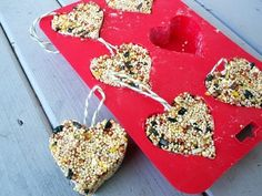 You need ¾ cup birdseed 1 small packet of Knox gelatin or peanut butter  string or yarn heart-shaped mold   How to:Dissolve the gelatin in a ¼ cup of water and bring to a simmer, stirring until dissolved. Let cool slightly. Add the birdseed and mix well. Spoon the seeds in to the mold until firm