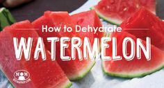 Overloaded with the yummy goodness of watermelon this summer? Learn to make watermelon candy! Easily Dehydrate Watermelon - see how @ Mom with a PREP Dehydrated Watermelon, Watermelon Jerky, Dehydrated Food, My Favorite Food, Favorite Recipes, Real Food Recipes, Yummy Food, Fun Food, Recipes