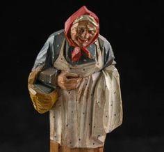 Old Black Folk Art | ... WOOD CARVING ANRI BLACK FOREST GERMAN FOLK ART OLD LADY FIGURINE SWISS