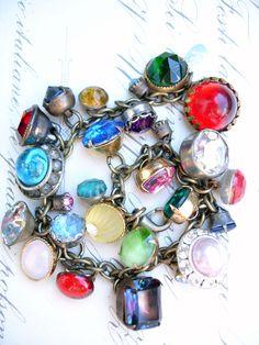 Paula Montgomery Vintage Colored Rhinestone Button Bracelet