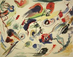 Painter Wassily Kandinsky. Painting. Untitled (First Abstract Watercolor). 1910 year
