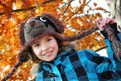 Handmade Crochet Super Star Puppy Dog Hat for all ages.    This adorable Girlish Puppy Hat with flower and STAR eye patch is hand crocheted out of soft acrylic yarn in smoke free home...    SIZE: Custom (please allow 7-10 days to complete)    COLOR: Rave Purple, Skinny Pink, Barley Brown