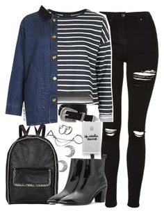 """Outfit for university with a backpack"" by ferned ❤ liked on Polyvore featuring Topshop, Casetify, STELLA McCARTNEY, ASOS, Forever 21 and Acne Studios"