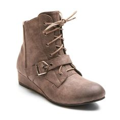 Kisses by 2 Lips Too Too Scope Women's Wedge Ankle Boots, Girl's, Size: medium (7.5), Dark Beige