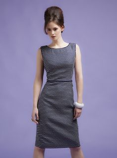Shift Dress in Navy and Ivory Weave Effect - Abby – Lalage Beaumont