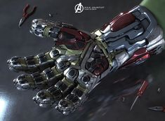 In which Iron Man's Infinity Gauntlet receives design changes. Marvel Dc Movies, Marvel Art, Marvel Heroes, Marvel Avengers, Iron Heart Marvel, Iron Man Avengers, Iron Man Suit, Iron Man Armor, Gauntlet Weapon