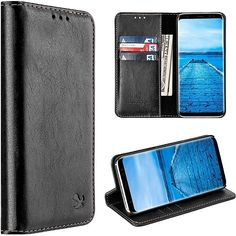 Samsung Galaxy Luxury Wallet Cover With Card Slots Sleek Black for sale online Galaxy S8, Samsung Galaxy, Simple Designs, Mobile App, Leather Wallet, Phone Cases, Luxury, Wallets, Walmart
