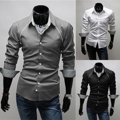 Mens Dress Shirts Mens Handsome Shirt Men Gray Shirt Casual Shirt for Men Gray Shirt, Men Shirt, Dress Shirts, Casual Shirts For Men, The Man, Handsome, Mens Fashion, My Style, Long Sleeve