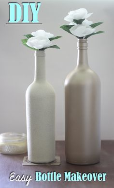 Easy Glass Bottle Makeover #DIY