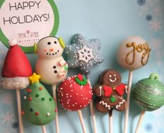Snowman, snowflake, joy, gingerbread and other holiday cake pops