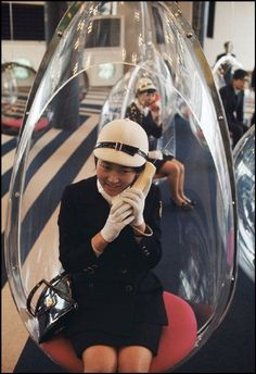 OSAKA EXPO 1970 – Debut of plexiglass privacy eggs with early cellular phones