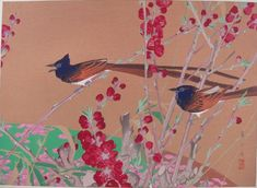 "Rakusan Tsuchiya, ""Scarlet (-flowring) Peach and Japanese Paradise-flycatchers (Mid Spring)"""