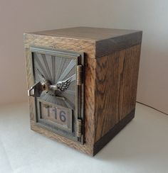 Jacobean Mission Oak Wooden Bank with Vintage Brass Post Office Mail Box Door 116 Keyed lock box manly groomsman wedding party safe lockbox gift idea