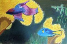 Zierfische auf dunklem Papier #Paul #Riedel #weewado #fish #Ornamental #chalk #art #painting