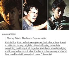 My favourite characters, Newt and Minho. Of course I love Thomas, but I LOVE NEWT AO MUCH.