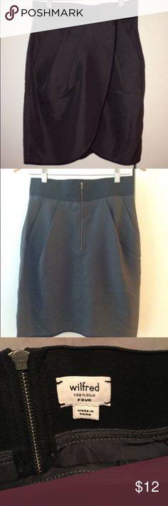 Aritzia Wilfred silk tulip skirt size 4 In like new condition. Color is in between gray and olive. Has black trim and a somewhat stretchy waistband Aritzia Skirts