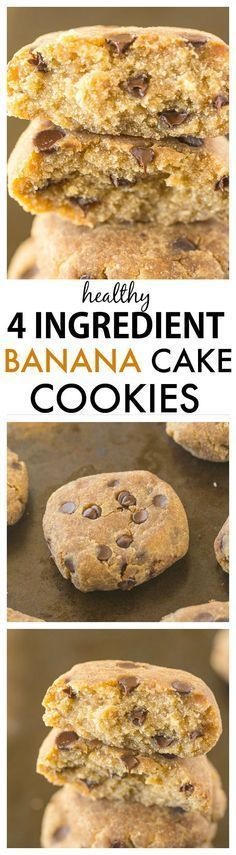 Healthy 4 Ingredient Banana Cake Cookies- Cake-like cookies which need just four., Desserts, Healthy 4 Ingredient Banana Cake Cookies- Cake-like cookies which need just four ingredients and 12 minutes- You won't believe this delicious recipe i. Paleo Dessert, Gluten Free Desserts, Healthy Desserts, Delicious Desserts, Dessert Recipes, Yummy Food, Delicious Cookies, Cookies Vegan, Healthy Banana Cookies