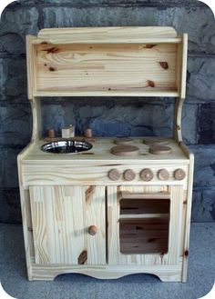 Wooden Play Kitchen, Children's Toy Play Set
