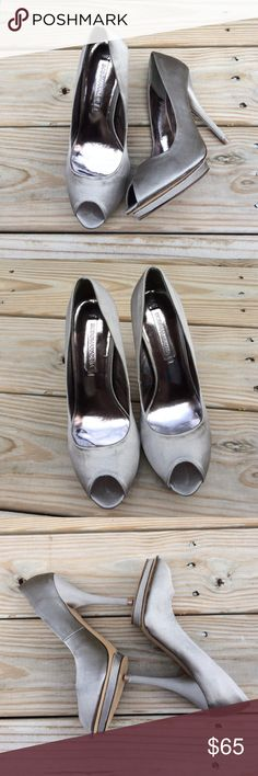 """BCBG MAXAZRIA Only used once in a wedding. Open toe pump with 3.5"""" stiletto heels in mushroom color. Leather with silk satin finish material. Comes with her original box. BCBGMaxAzria Shoes Heels"""