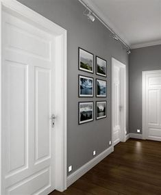 perfect corridor, grey walls, white doors, dark wooden floor - Futura Home Decorating Room Colors, House Colors, Hall Paint Colors, Grey Interior Paint, Gray Paint, Greige Paint, Grey Interior Design, Home Interior Colors, White Interior Doors