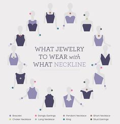 Accessories add the finishing touches to any outfit.  Use this handy graphic to match your jewelry with your neckline and keep it chic at all times. #tips #accessorize — Les accessoires mettent la touche finale à n'importe quel habit.  Utilisez ce super graphique pour mettre les bons bijoux avec la bonne encollure, et restez chic en tout temps!  #trucs #accessoires