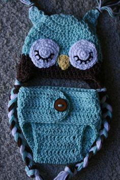 newborn owl hat and diaper cover