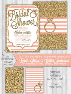 Blush Pink & Gold Glitter Bridal Shower Invitation Ring Stripes by WonderBash, $10.00