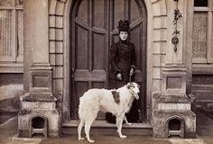 Queen Alexandra with Alex, her Borzoi dog 1890s.