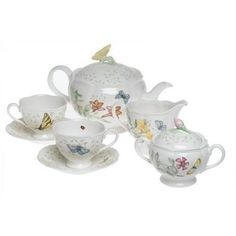 Bring elegance back to your teatime with this beautiful Butterfly Meadow Tea Set from Lenox. This tea set includes a tea pot, a creamer, a sugar bowl, 2 cups, and 2 saucers that are great for a relaxing time for two.