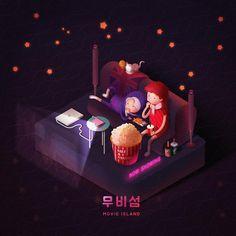 """좋아요 41개, 댓글 2개 - Instagram의 soohee(@sooh_eess)님: """"소파에서 프로젝터로 영화보기🎥 #cgv & #메가박스 남매 . 힐링의 섬 #둥둥섬시리즈 . . . . . #힐링그림 #doongdoongisland #illustration…"""""""